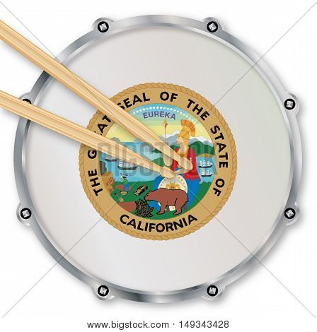 California state seal snare drum batter head with tuning screws and with drumsticks over a white background