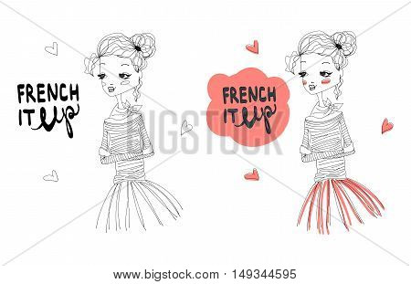 French It Up Fashion Illustration Set with a Cute French Girl Wearing Blue Longsleeved Shirt and Pink Tutu, Lettering. Colorful and Sketch Fashion Print