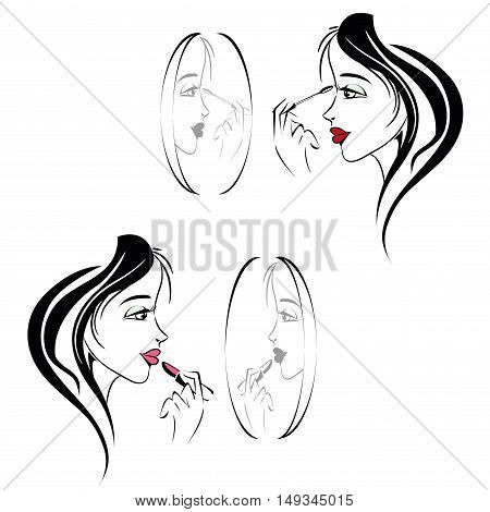 cute girl doing her makeup in the mirror, stock vector illustration
