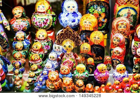 Colorful Russian Nesting Dolls Matreshka at Market. Matrioshka Most Popular Souvenir From Russia.