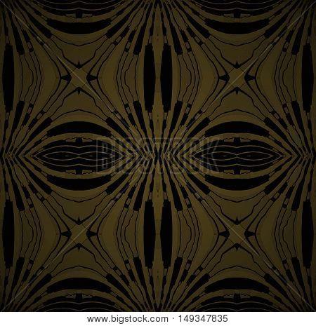 Abstract geometric seamless dark background. Regular symmetric ellipses ornament gold and black