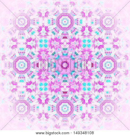 Abstract geometric seamless background. Regular floral ornament pink, violet and turquoise, centered and blurred.