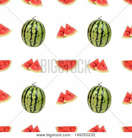 Seamless pattern of watermelon and watermelon slices isolated on white background