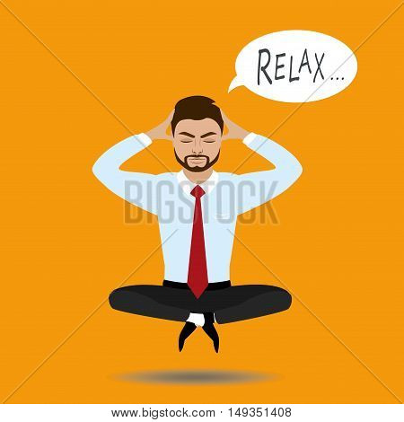 businessman meditates in lotus position. Harmony, relax, spiritual energy.Stock vector illustration in cartoon style.