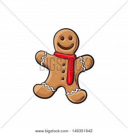 Traditional Christmas gingerbread, cartoon illustration isolated on white background. Xmas ginger man, traditional festive cookie, Christmas decoration element