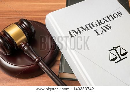 Immigration Law Book And Gavel. Consumer Protection Book And Gav
