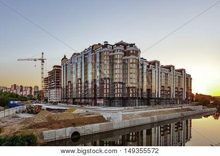 BELGOROD RUSSIA - SEPTEMBER 10 2016: Housing construction in the city of Belgorod. The construction of the residential complex