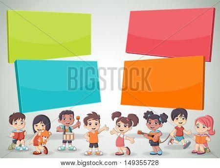 Vector brochure backgrounds with cartoon children. Infographic template design.