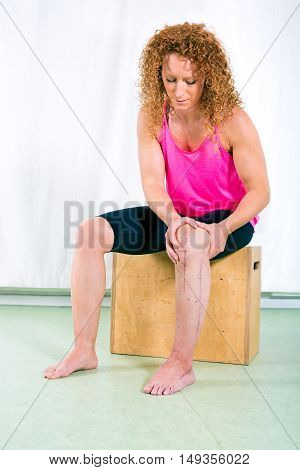 Adult Woman Rehabilitating Injured Leg