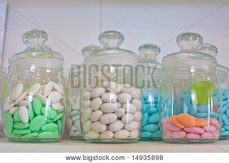 Glass Jar With Colored Pills