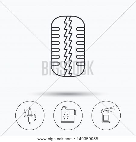 Wheel, fire extinguisher and spark plug icons. Fuel jerrycan, tire tread linear signs. Linear icons in circle buttons. Flat web symbols. Vector