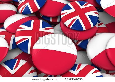 Poland And Uk Badges Background - Pile Of Polish And British Flag Buttons 3D Illustration