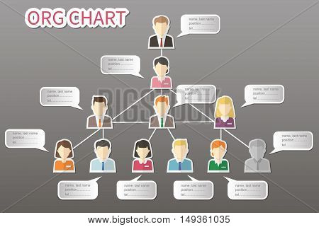 Organizational chart corporate business hierarchy , people structure, business people conceptual vector illustration.