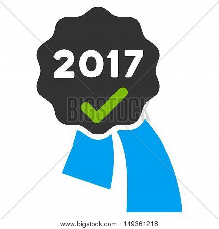 2017 Approve Award icon. Vector style is flat iconic symbol on a white background.