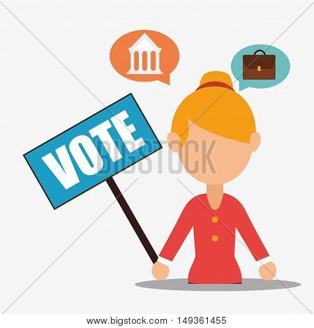 avatar woman with vote placard and political elections icons. vector illustration