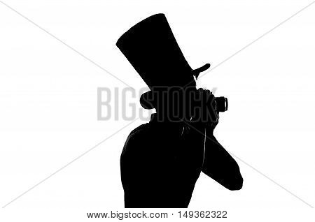 silhouette of a Young photographer with camera, isolated on white