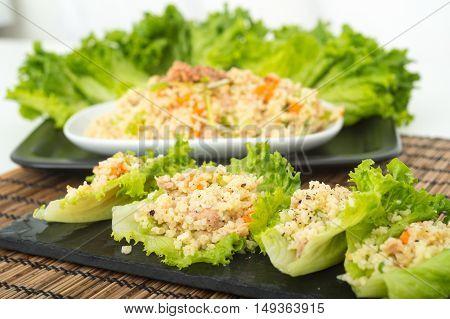 Tuna and Bulgar wheat lettuce wraps meal