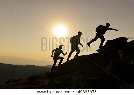 team spirit-successful  & ambitious climbers.mountaineers team.Mountaineering activities.
