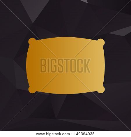 Pillow Sign Illustration. Golden Style On Background With Polygons.