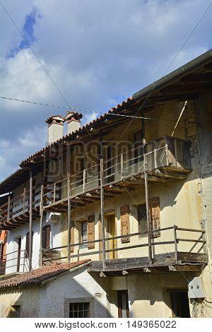 An old historic building in the Italian village of San Pietro al Natisone Friuli Venezia Giulia.