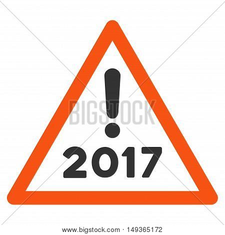2017 Warning icon. Glyph style is flat iconic symbol on a white background.