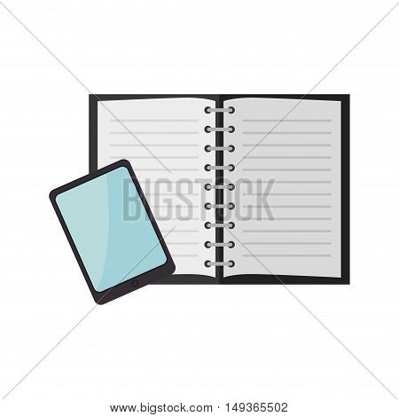 tablet techonology device and open notebook. vector illustration