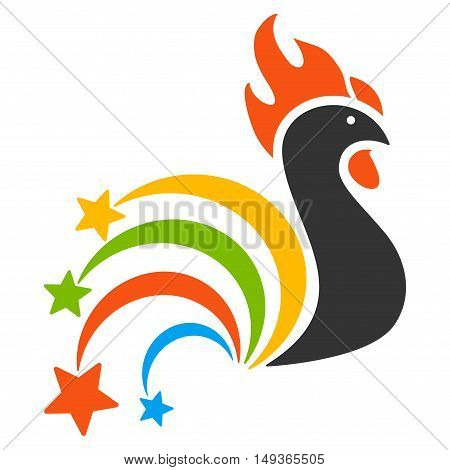 Festival Rooster icon. Glyph style is flat iconic symbol on a white background.