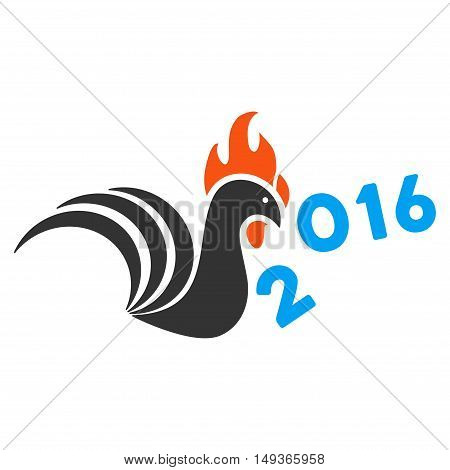 Rooster Banish 2016 Year icon. Glyph style is flat iconic symbol on a white background.