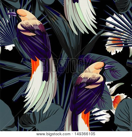 Tropical animal bird flower orchids and plants. Fashion night style jungle pattern vector seamless background