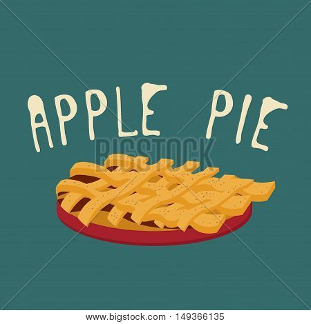 Apple pie icon. Apple pie with a lattice pastry crust covered with cinnamon
