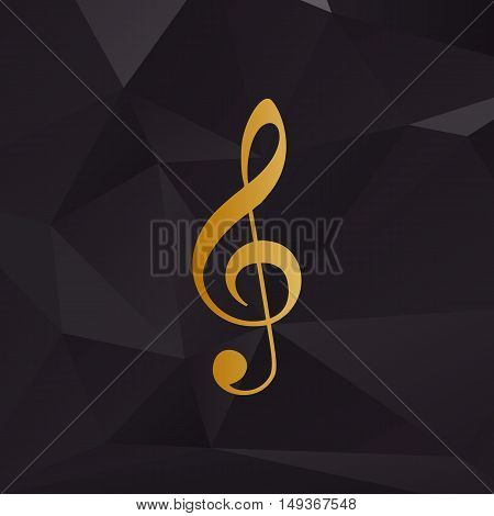 Music Violin Clef Sign. G-clef. Treble Clef. Golden Style On Background With Polygons.