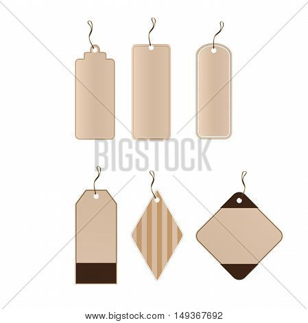 Vector set of 6 tags different shapes. eps8