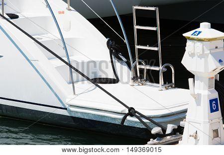 Varadero, Cuba - September 06, 2016: Catamaran boat in the marina Varadero, Cuba