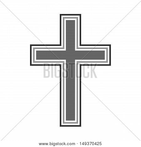 Religious cross symbol icon on white background. Vector illustration.