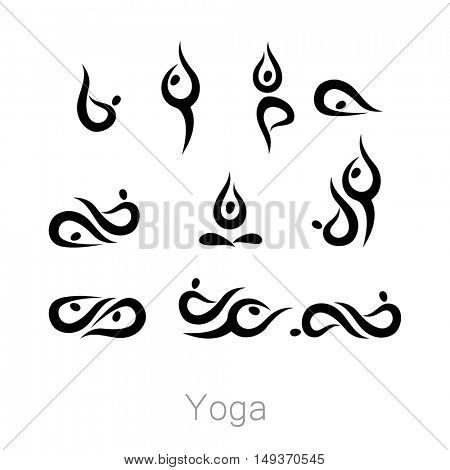 Set with various poses of yoga. Yoga exercises.  Design for Yoga class, yoga center, yoga studio, yoga logo. Vector set of yoga illustration.