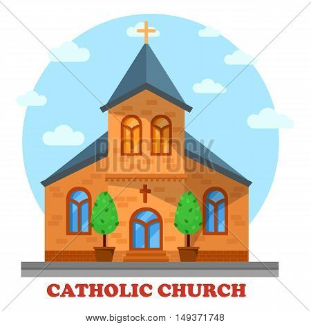 Religion catholic or christian church facade. Architecture or construction of sanctuary or cathedral for praying or worship to God or Jesus. Perfect for culture and soul, spiritual and religious theme