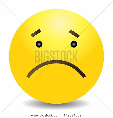 Vector Single Yellow Emoticon - Sad Face