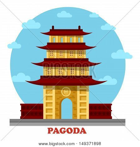 Religious pagoda or tiered tower with eaves. Statue for buddha monk faith that used for tourism and travel visiting. Good for culture and spiritual, history and architecture outdoor view theme
