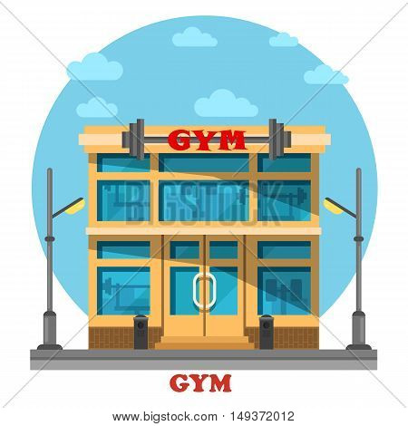 Gym or gymnasium, fitness center architecture building with barbell on top. Construction for pilates and gymnastic, athletics activity and bodybuilding, muscle training or exercise. Good sport theme