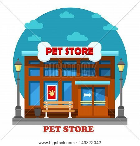 Pet store and shop for animal care building including dog or cat grooming. Architecture of construction exterior outdoor view with bone on top panorama for trade or sale pets food or nutrition.