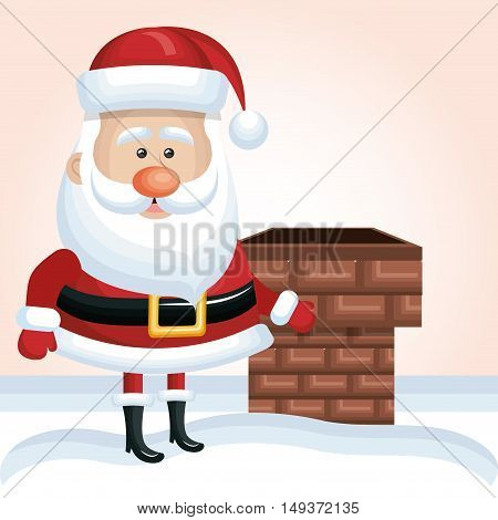 cartoon santa claus xmas chimney snow design graphic isolated vector illustration