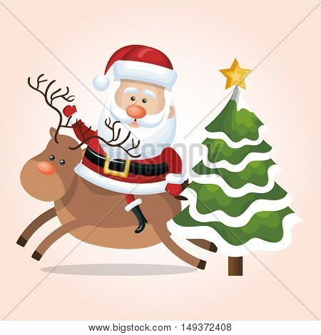 card santa claus riding reindeer and tree star snow design vector illustration