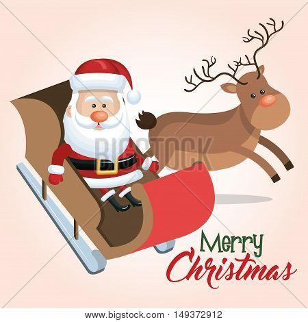merry christmas santa reindeer sleigh vector illustration