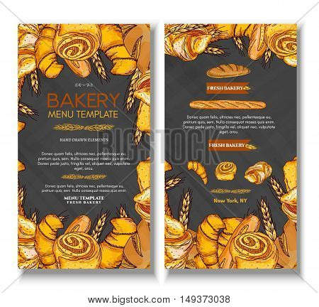 Fresh bread bakery products background buns pastries. Bakery cover design template