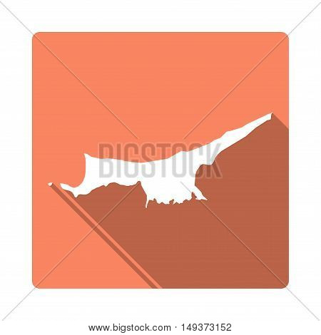 Vector Northern Cyprus Map Button. Long Shadow Style Northern Cyprus Map Square Icon Isolated On Whi