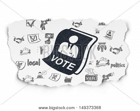 Political concept: Painted black Ballot icon on Torn Paper background with  Hand Drawn Politics Icons