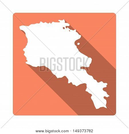 Vector Armenia Map Button. Long Shadow Style Armenia Map Square Icon Isolated On White Background. F