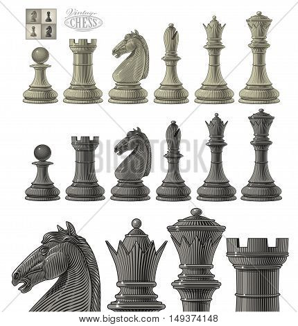Vector illustration of chess piece set in vintage engraving style, isolated, grouped on transparent background