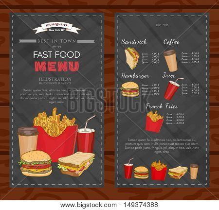 Fast food cover design template fast food menu vector