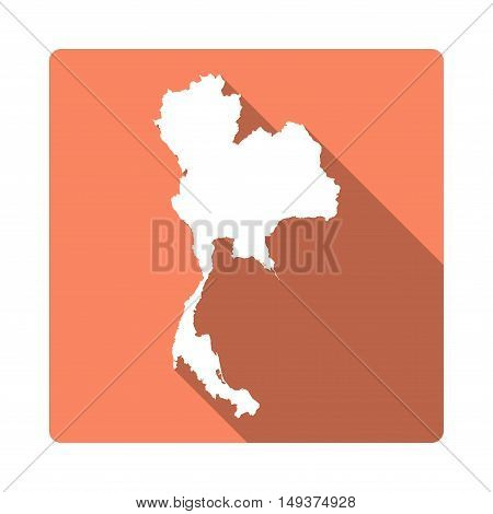 Vector Thailand Map Button. Long Shadow Style Thailand Map Square Icon Isolated On White Background.